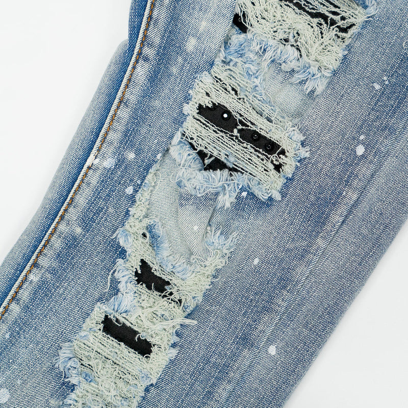 Studded Distressed Denim Jean