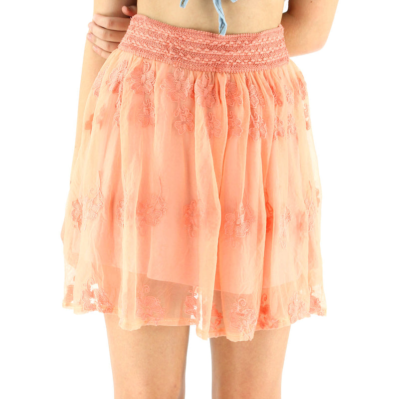 Miss YCMC Sheer Skirt w/ Lace