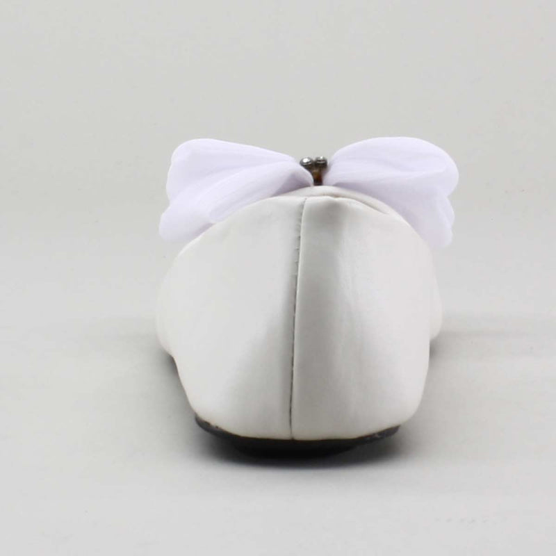 Eddie Marc Kids Satin Bow Ballet Flat