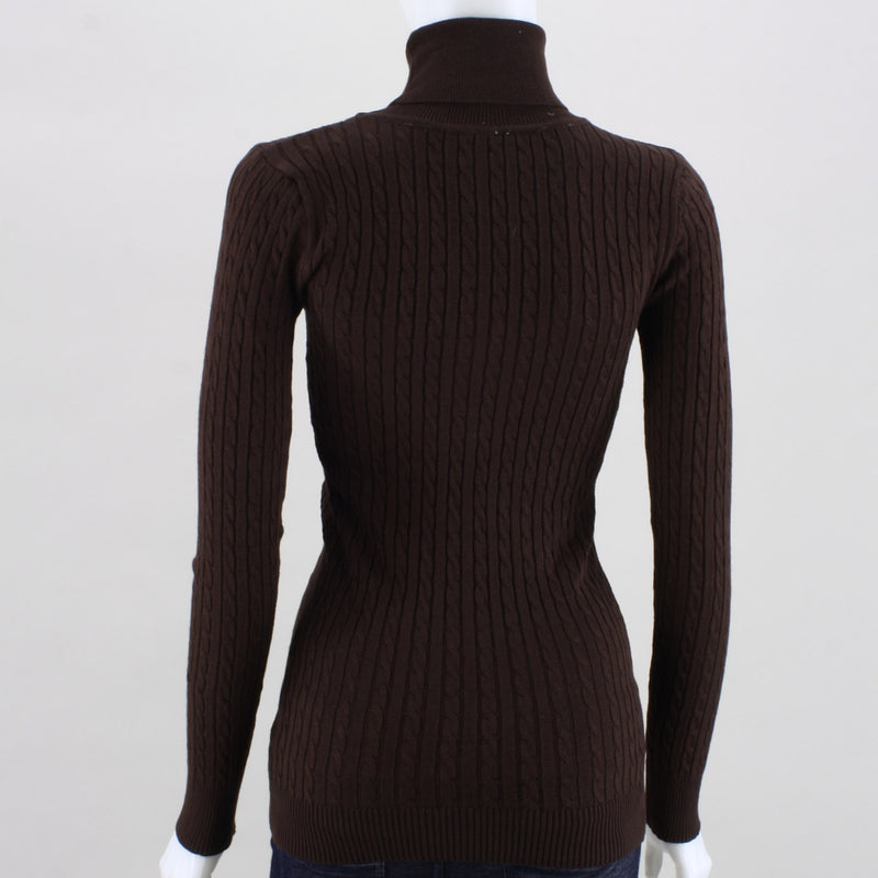 Poof Tyra Cable-Knit Turtleneck Top