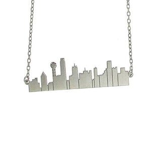 Sterling Silver City Scape Sillouhette Necklace and Chain-Dallas Texas