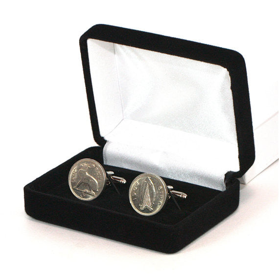 Irish Harp and Hare Coin Cufflinks