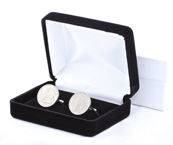 Irish Harp and Hare Coin Sterling Silver Cufflinks