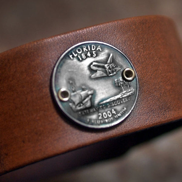 Florida State Quarter Leather Cuff