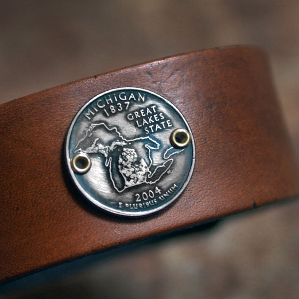 Michigan State Quarter Leather Cuff