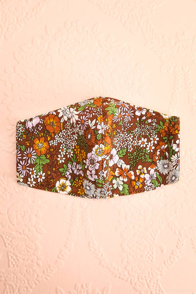 70s Flower Face Mask Brown | Boutique 1861 front view