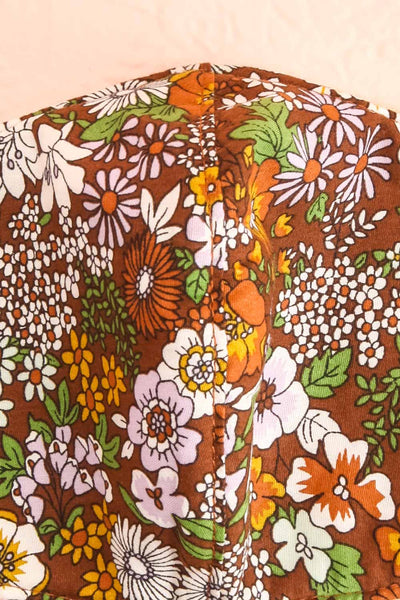 70s Flower Face Mask Brown | Boutique 1861 close-up