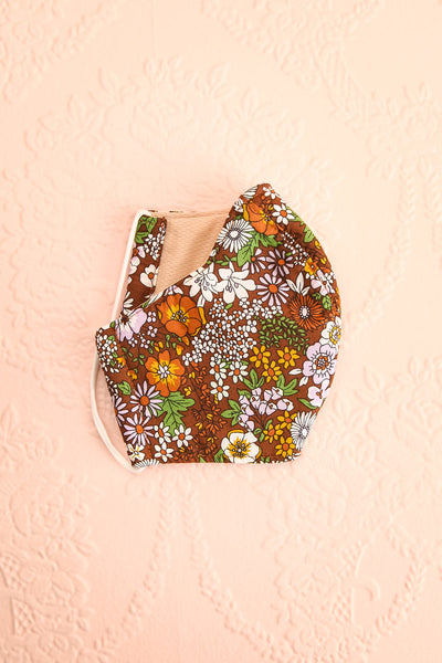 70s Flower Face Mask Brown | Boutique 1861 lining view