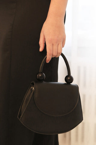 Aarhus Black Faux-Leather Handbag | Boutique 1861 on model