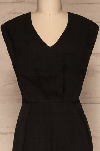 Aase Black V Neck Straight Leg Jumpsuit | La petite garçonne front close-up