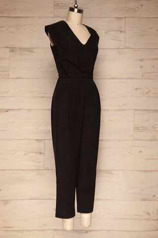 Aase Black V Neck Straight Leg Jumpsuit | La petite garçonne side view