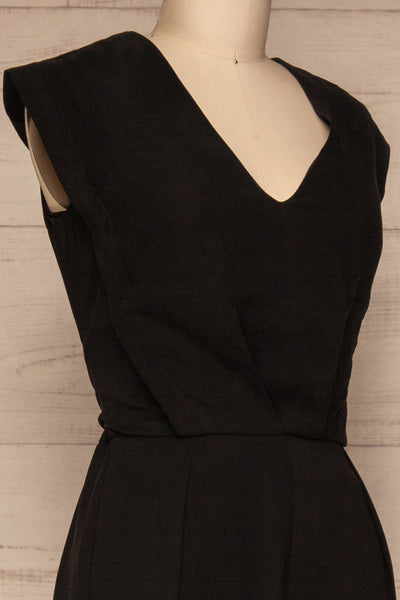 Aase Black V Neck Straight Leg Jumpsuit | La petite garçonne side close-up