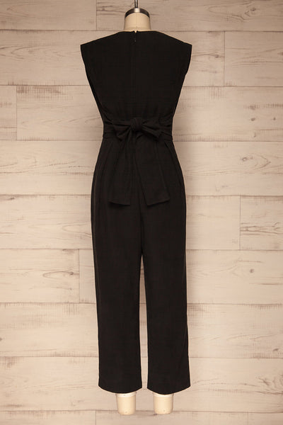 Aase Black V Neck Straight Leg Jumpsuit | La petite garçonne back view