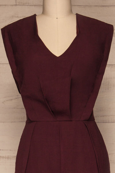 Aase Burgundy V Neck Straight Leg Jumpsuit | La petite garçonne front close-up