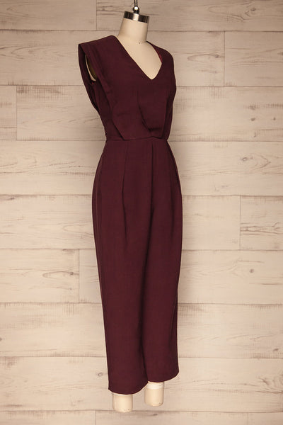 Aase Burgundy V Neck Straight Leg Jumpsuit | La petite garçonne side view