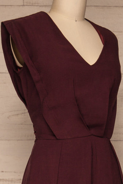 Aase Burgundy V Neck Straight Leg Jumpsuit | La petite garçonne side close-up