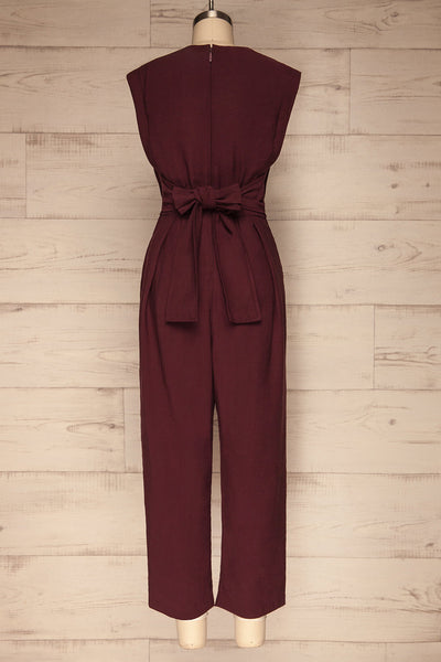 Aase Burgundy V Neck Straight Leg Jumpsuit | La petite garçonne back view