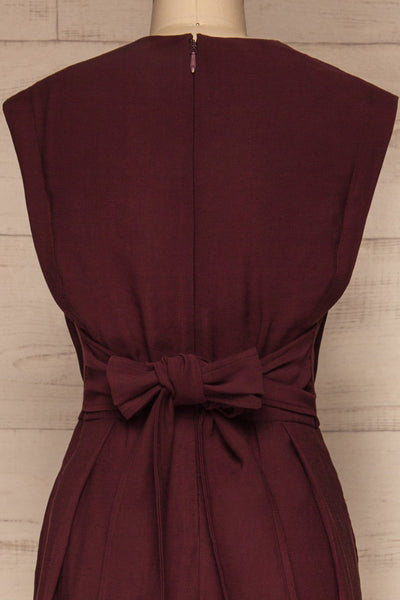 Aase Burgundy V Neck Straight Leg Jumpsuit | La petite garçonne back close-up