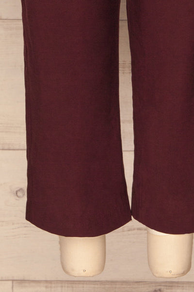 Aase Burgundy V Neck Straight Leg Jumpsuit | La petite garçonne bottom close-up