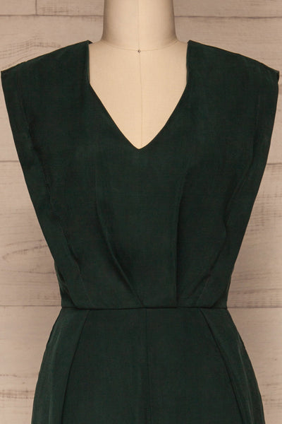 Aase Emerald V Neck Straight Leg Jumpsuit | La petite garçonne front close-up
