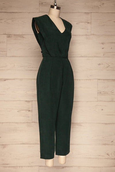 Aase Emerald V Neck Straight Leg Jumpsuit | La petite garçonne side view