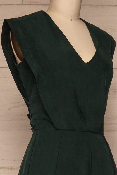 Aase Emerald V Neck Straight Leg Jumpsuit | La petite garçonne side close-up