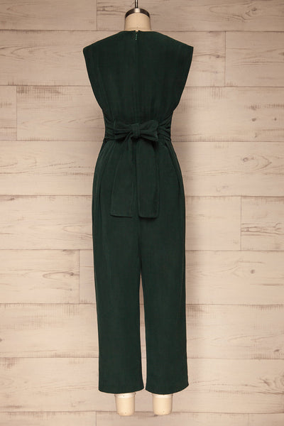 Aase Emerald V Neck Straight Leg Jumpsuit | La petite garçonne back view