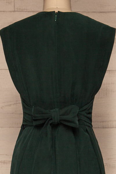 Aase Emerald V Neck Straight Leg Jumpsuit | La petite garçonne back close-up