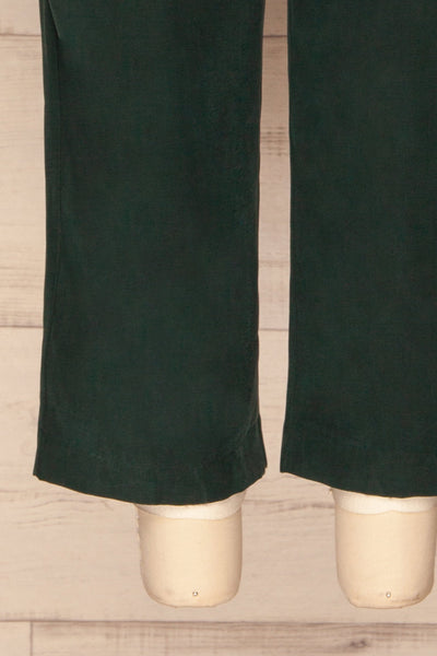 Aase Emerald V Neck Straight Leg Jumpsuit | La petite garçonne bottom close-up
