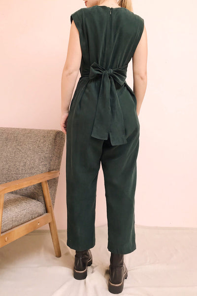 Aase Emerald V Neck Straight Leg Jumpsuit | La petite garçonne model back