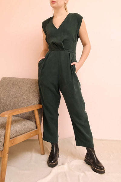 Aase Emerald V Neck Straight Leg Jumpsuit | La petite garçonne on model