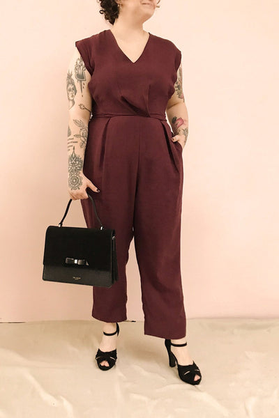 Aase Burgundy V Neck Straight Leg Jumpsuit | La petite garçonne model look 1
