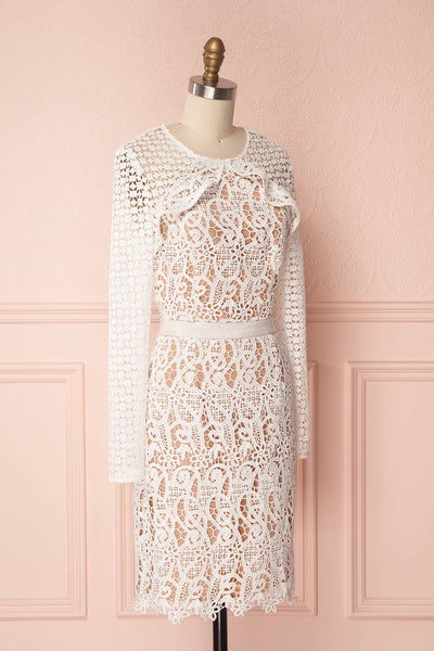 Abassia Lumière White Crocheted Lace Cocktail Dress | Boudoir 1861 4