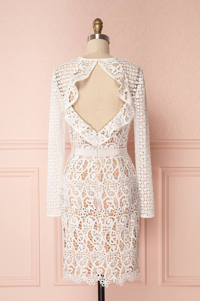 Abassia Lumière White Crocheted Lace Cocktail Dress | Boudoir 1861 6