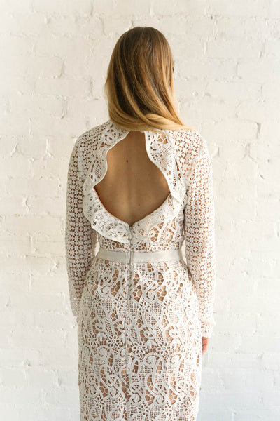Abassia Lumière White Crocheted Lace Cocktail Dress | Boudoir 1861 2