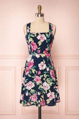 Abymes Navy Blue Floral A-Line Summer Dress | Boutique 1861