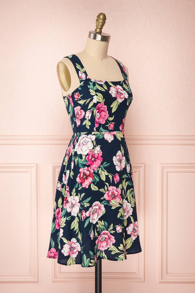 Abymes Navy Blue Floral A-Line Summer Dress | Boutique 1861 3