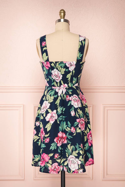 Abymes Navy Blue Floral A-Line Summer Dress | Boutique 1861 5
