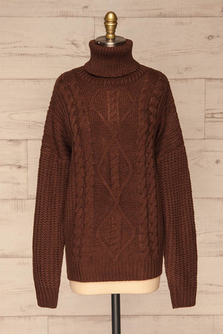Abzac Brown Turtleneck Sweater | Col Roulé front view | La Petite Garçonne