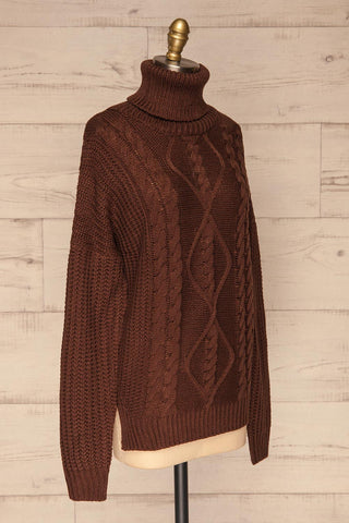 Abzac Brown Turtleneck Sweater | Col Roulé side view | La Petite Garçonne