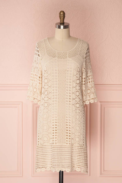 Acacie Beige Crocheted Lace Tunic Dress | Boutique 1861 1