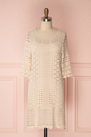 Acacie Beige Crocheted Lace Tunic Dress | Boutique 1861