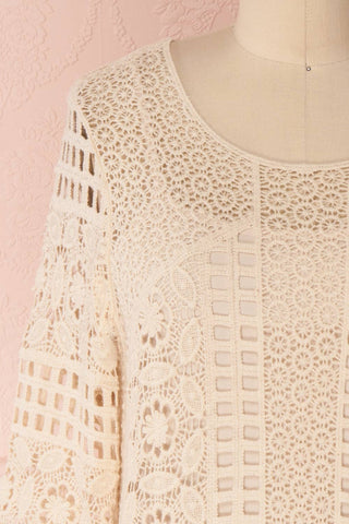Acacie Beige Crocheted Lace Tunic Dress | Boutique 1861 3