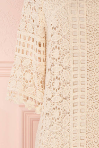 Acacie Beige Crocheted Lace Tunic Dress | Boutique 1861 8