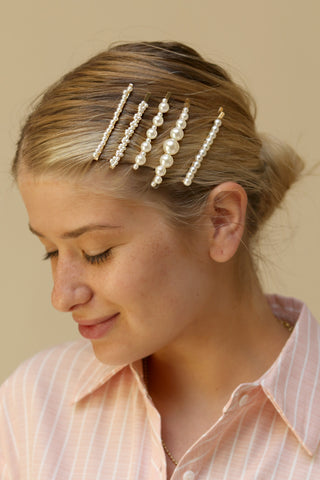Comperio Set of Golden Hair Pins with Pearls | La Petite Garçonne on model