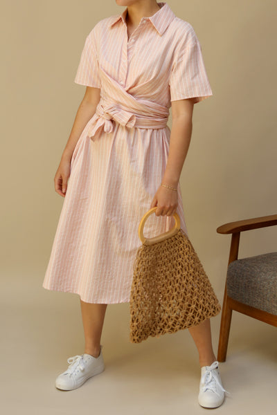 Accrington Pink Striped Button-Up A-Line Summer Dress | Boutique 1861 on model
