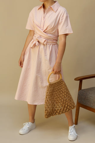Accrington Pink Striped Button-Up A-Line Summer Dress | Boutique 1861 2