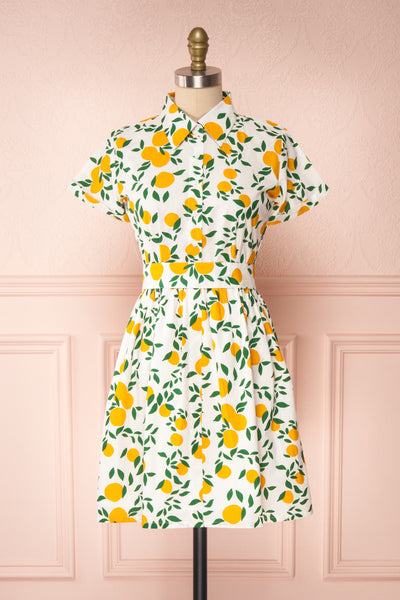 Achillea White Lemon Print Shirt Dress | Boutique 1861 front view