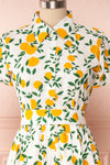 Achillea White Lemon Print Shirt Dress | Boutique 1861 front close up