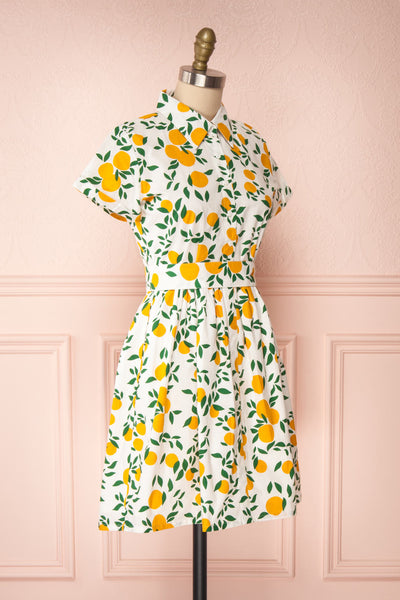 Achillea White Lemon Print Shirt Dress | Boutique 1861 side view